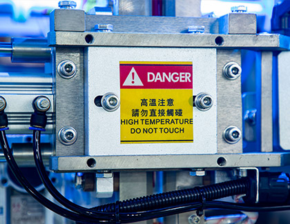indicator label check causion on the machine